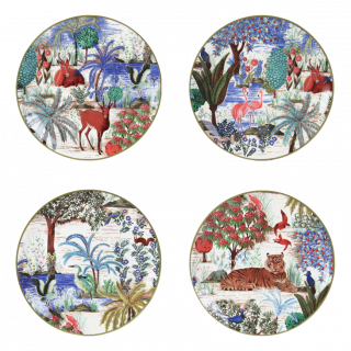 Set of 4 assorted canape plates