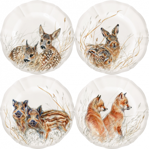 Set of 4 dessert plates assorted, Wildlife Young