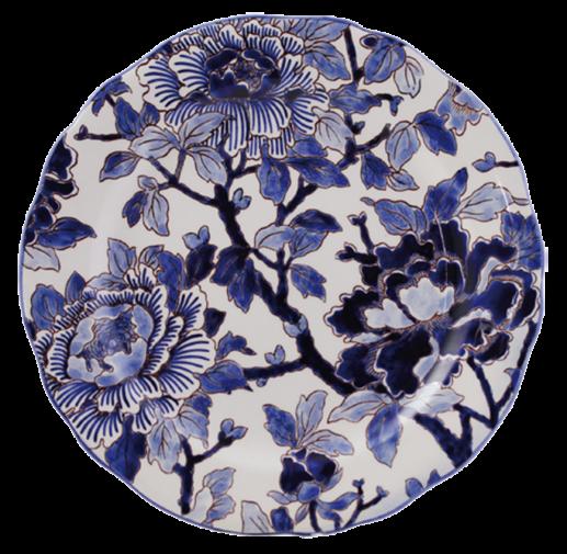 Dessert Plate - Blue Pivoines