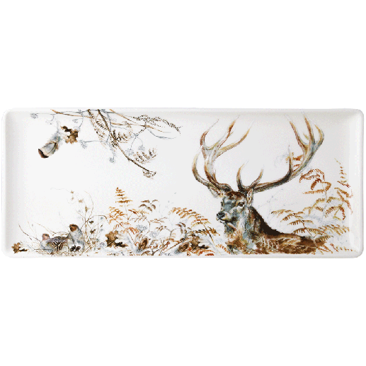 Oblong serving tray stag