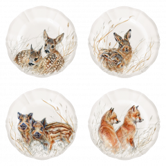 Set of 4 canape plates assorted, Wildlife Young